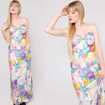 Vintage 80s FLORAL Two Piece Strapless Bustier Tube Top & Skirt PASTEL Crop Top Two Piece Set Gene Ewing