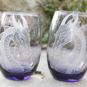 2 Purple dragon stemless wine glasses , hand engraved wine glass,  wine tumbler  , host hostess gift ideas custom glassware barware stemware
