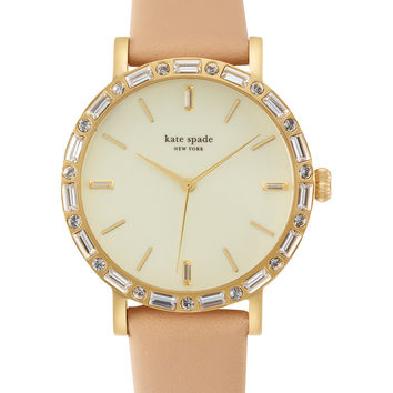 kate spade new york Women's Metro Grand Interchangeable Vachetta and Glitter Leather Strap Watch Set 38mm 1YRU0602A