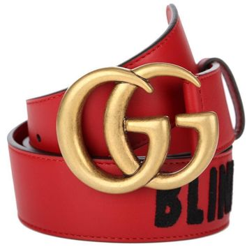 """NEW GUCCI DOUBLE G RED LEATHER """"BLIND FOR LOVE"""" EMBROIDER BELT 85/34 UNISEX"""