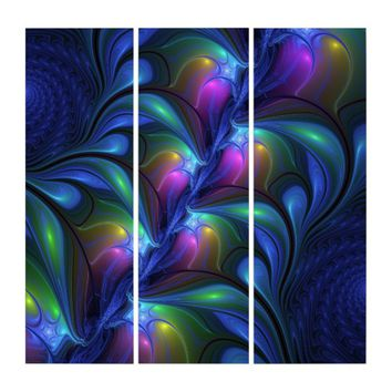 Colorful Luminous Abstract Blue Pink Green Fractal Triptych