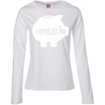 Capitalist Pig Piggy Bank 01  Ladies' Long Sleeve Cotton TShirt