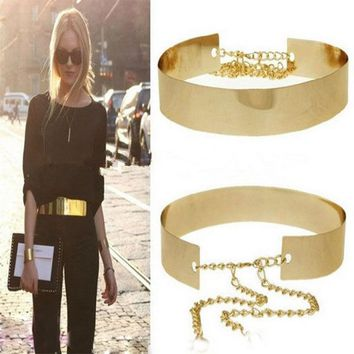 1PC 66cm Women Belts Waistbands Punk Full Metal Mirror Waist Belt Metallic Gold Plate Wide Cummerbunds With Chains Lady DP671419