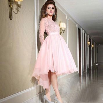 Elegant Pink High Low Cocktail Dresses 2017 Appliques Long Sleeve Short Front Long Back Party Special Occasion Cocktail Gowns
