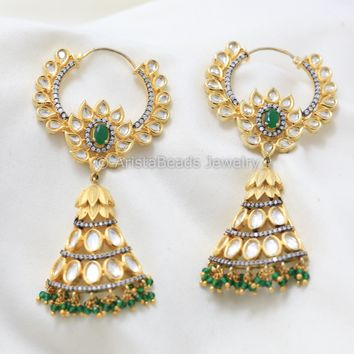 Kundan Emerald CZ Hoop Earrings