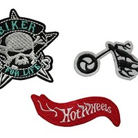 TENNER.LONDON Set of 3 biker Iron/Sew On Embroidered Patch Applique Embroidery motor cycle, bike, biker for life, hot wheels Motif [Energy Class A+]