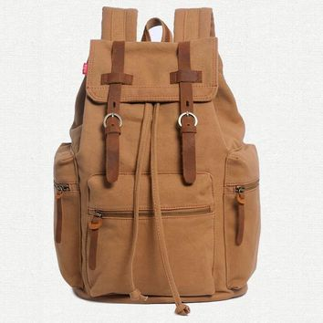 Fashion Nice Vintage Crazy Horse Leather Canvas men's Backpack Women Backpack For Teenage Girl Canvas School Backpack Travel Bag