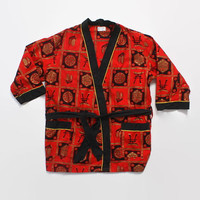Vintage 60s Men's Novelty ROBE / 1960s Metallic Hawaiian Asian Print Short Belted Dressing Gown Poolside Cover Up