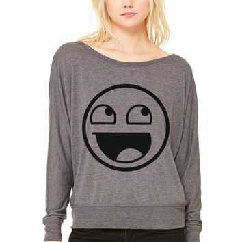 Awesome Smiley 1c WOMEN'S FLOWY LONG SLEEVE OFF SHOULDER TEE