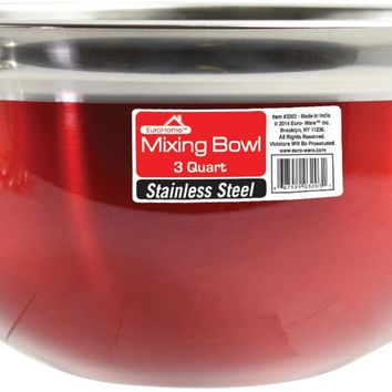 Red Stainless Steel Mixing Bowl - 3 Qt. Case Pack 12