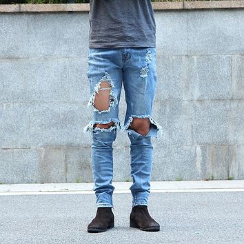 Urban Cool Mens Side Ankle Zipper Jeans Kanye West Skinny Stretchy Destroyed Distressed Knee Ripped Jeans With Holes For Men