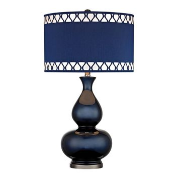 D2516 Heathfield Glass Table Lamp in Navy Blue - Free Shipping!