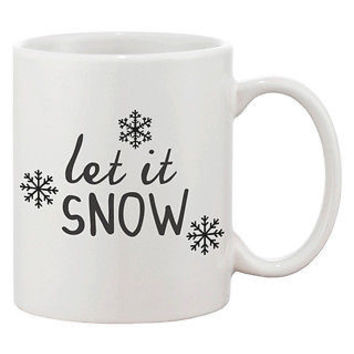 Cute Snowflake Winter Coffee Mug - Let It Snow 11oz Ceramic Mug Cup