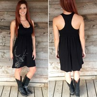 Country Side Whiskey Drinker All Antlers Racerback Dress