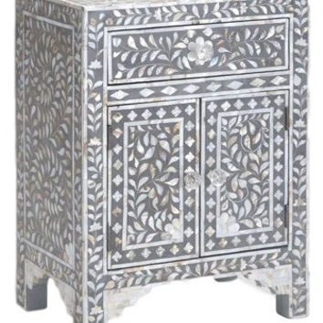 Bone Inlay Furniture - Grey / Gray Nightstand Side Table Floral Pattern | Free Shipping