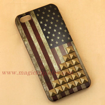 Flags Iphone 5 Case, studded iphone 5 case, Vintage Flags studded iphone 5 case, America United States Flags studded iphone 5 case