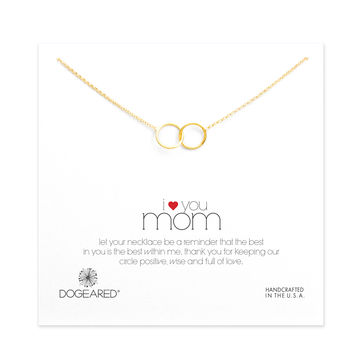 i ♥ you mom karma linked rings necklace, gold dipped - Dogeared