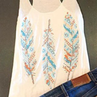 Tribal Feather Tank In White