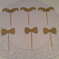Glittered Mustache and Bow cupcake toppers.  18 per order. Choose your colors!