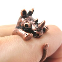 Rhino Rhinoceros Animal Wrap Around Ring in Copper - Size 5 to 10