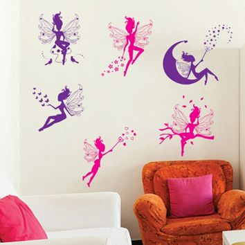 Cute Art Wall Stickers Decal Room Kids Girl Flower Angel Fairy Nursery Decor children room decal wshowC16031503891N12