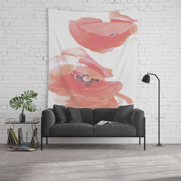 Pastel Poppies Wall Tapestry by byjwp