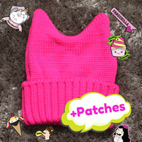 Bunny Beanie (Hot Pink) + Patch Combo! - Eat Your Kimchi
