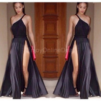 Women's Backless Sexy Sleeveless Ladies Party Evening Open Maxi Long Dress EO = 1956828356