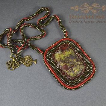 Blood Jasper - beadwork necklace