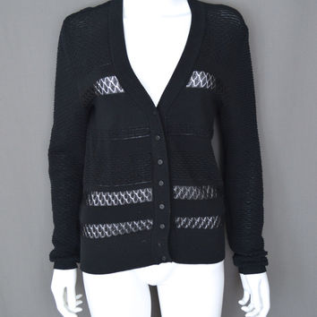 Les Copains Black Lace Cotton Sheer Cardigan Sweater Lightweight Italian 42 S/M