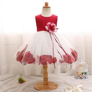 Flower Baby Girl Dress For Wedding Tulle Newborn Baby 1 Year Birthday Little Dress For Girls Infant Party Costume 12 24 Months