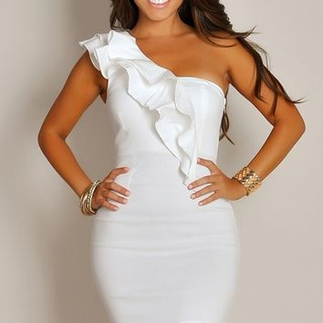 Blanca Ivory White Ruffled One Shoulder Party Dress