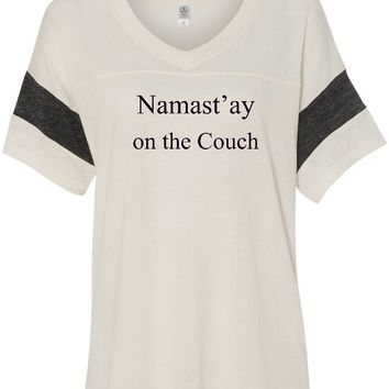 Womens Yoga T-shirt Namaste On The Couch Eco-Friendly V-neck