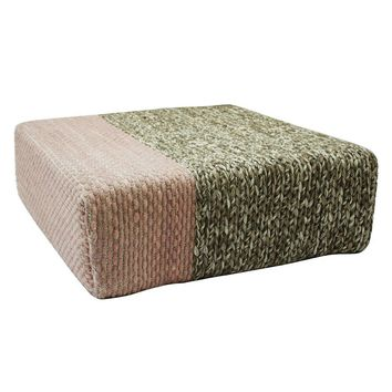 Ira - Handmade Wool Braided Square Pouf | Natural/Silver Pink | 90x90x30cm