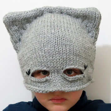 kids Cat Ear Hat grey, Cat Ear Beanie, Cat Hats, Chunky Knit Cat Hat, Winter Hat, Kids - Boys - Accessories - Hats - Children hats.