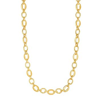14k Yellow Gold Oval Link Chain Womens Necklace, 18""