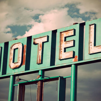 Vintage Mint Green Motel Sign, Neon Motel, Typography, Fine Art Travel Photograph, Graphic Designer Gift, Vintage Typography, Guest Bedroom