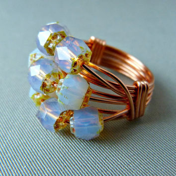 Lavender Dream Wire Wrapped Ring - Copper Wire