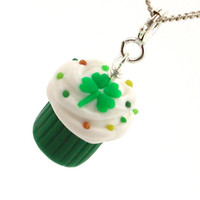 Shamrock cupcake necklace by inediblejewelry on Etsy