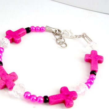 Cross Bracelet, Christian Bracelet, Pink Jewelry, Christian Jewelry, Religious Bracelet, Teen Bracelet, First Communion Gift, Cross Jewelry