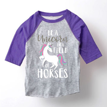 Purple 'Unicorn Field Of Horses' Raglan Tee - Toddler & Girls