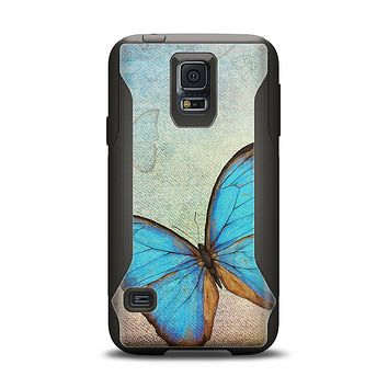 The Vivid Blue Butterfly On Textile Samsung Galaxy S5 Otterbox Commuter Case Skin Set