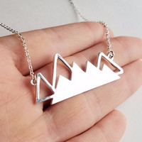Silver Mountain Range Necklace for Outdoor Lovers, Skiers and Hikers