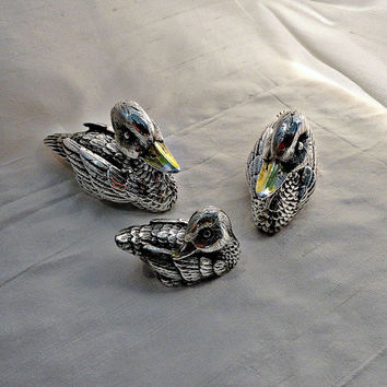 Sterling Silver Duck Family Statues Italy circa 1970