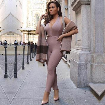 Adyce New Summer Women Jumpsuit Elegant Deep V Sexy Backless Sleeveless Halter Celebrity Night Club Party Jumpsuits Romper