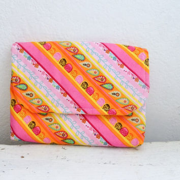Fabric Wallet, women's wallet, card holder, wallet orange, velcro closure, hand sewn, ready to ship, floral wallet, women's accessory