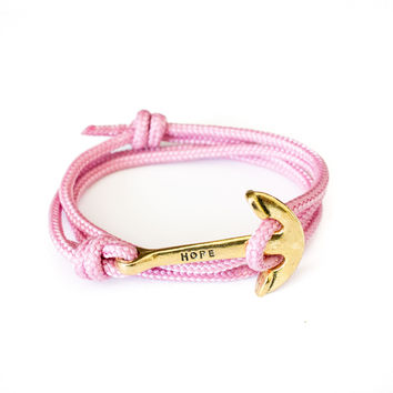The Gold Hope Anchor Bracelet on Soft Pink Rope