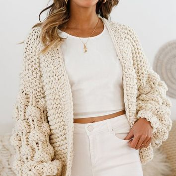 Desert Bound Cream Long Sleeve Chunky Crochet Oversize Cardigan Knit Pom Pom Sweater
