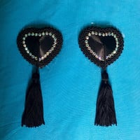 Black Heart Burlesque Pasties, Crystal Nipple Tassels