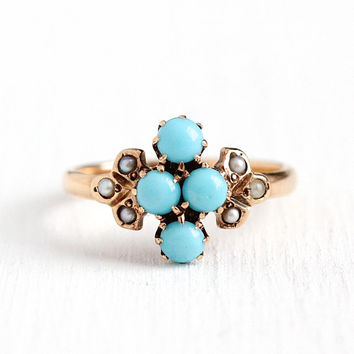 Antique Turquoise Ring - Victorian Late 1800s Size 6 1/2 10k Rosy Yellow Gold - Flower Cluster Pearl Blue Gemstone Cabochon Fine Jewelry